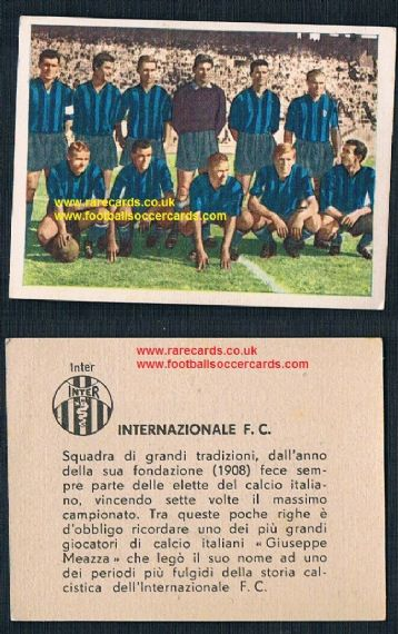 1961 Nannina Inter team with Gerry Hitchens rare gum card